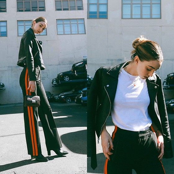 Get this look: http://lb.nu/look/8466023  More looks by Ana  Prodanovich: http://lb.nu/anaprodanovich  Items in this look:  Express Leather Jacket, Zara Track Pang, Everlane White Tee