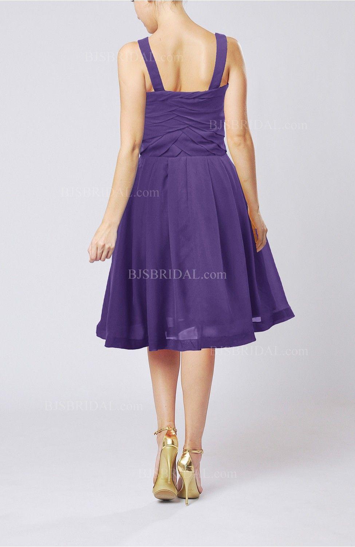 Dark Purple Black Dress - Modest A-line Thick Straps Sleeveless Knee ...