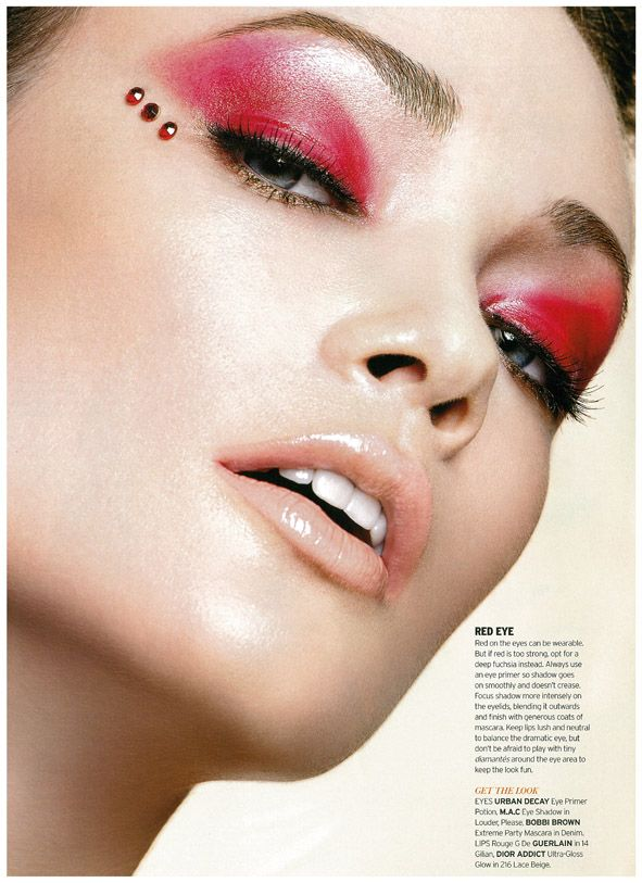 Elena Cheurina for Elle Singapore August 2010.    Red eye make-up with embellishments, so gorgeous!