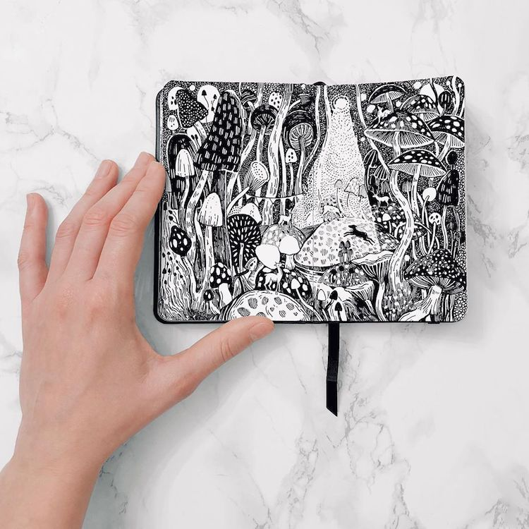 Artist Fills Her Sketchbooks With Fantasy Worlds You'll Want to Live In