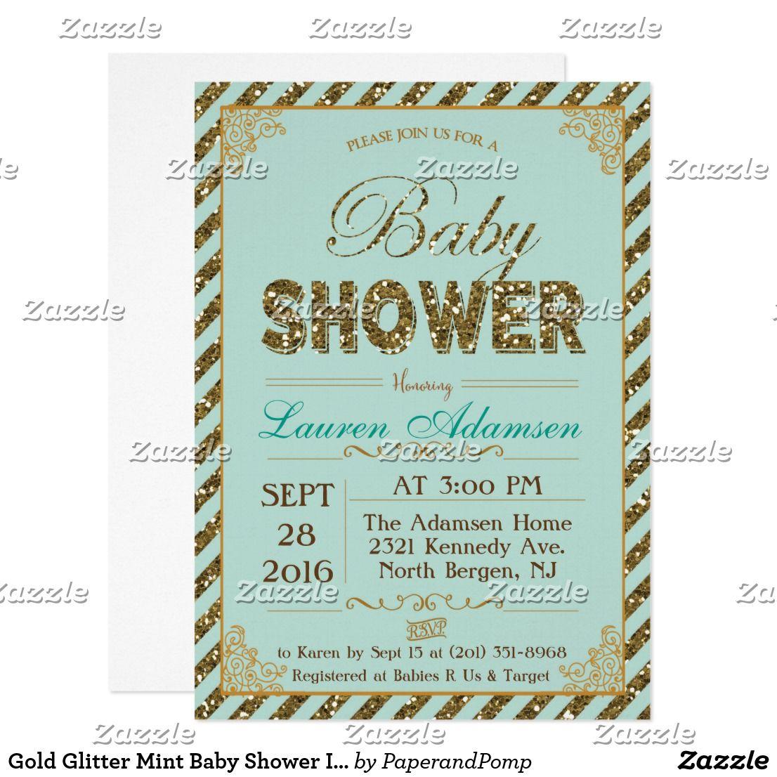 Gold Glitter Mint Baby Shower Invitation | { Oh Baby! - Shower Ideas ...