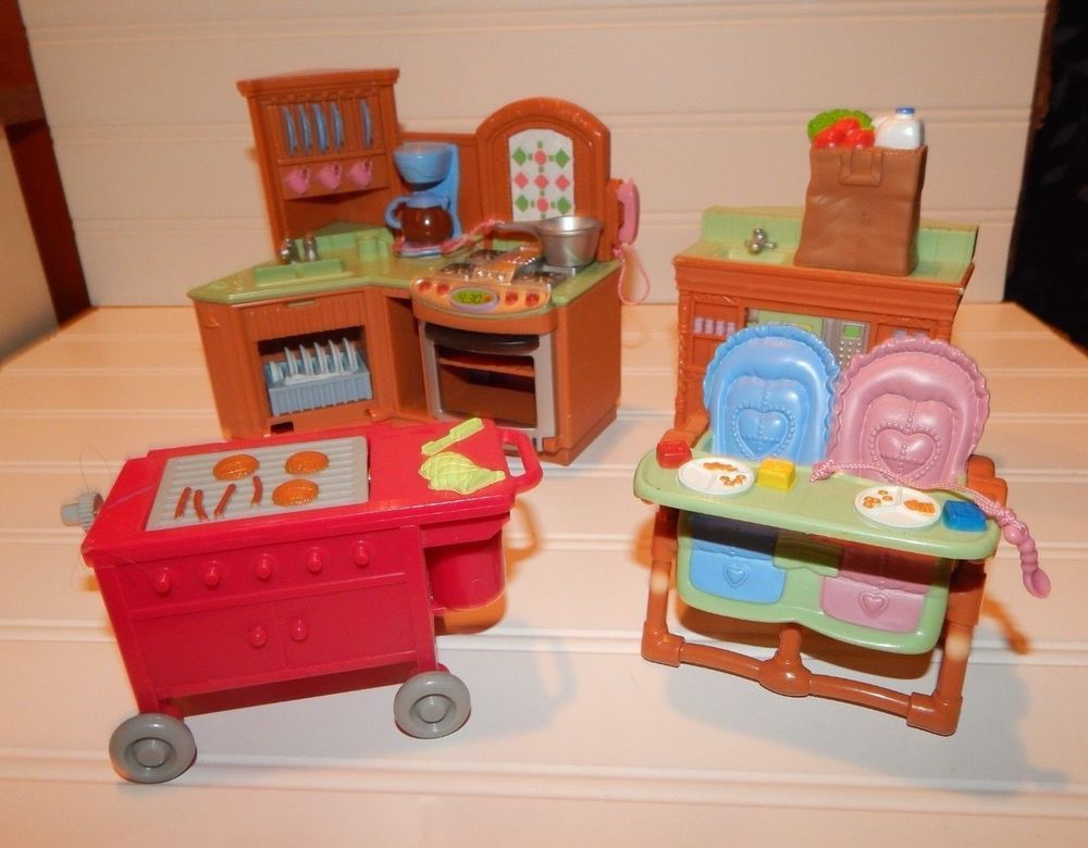 f545b3b1cb2f Fisher Price Loving Family Dollhouse Premium Kitchen Sound Lot High Chairs  +More  FisherPrice