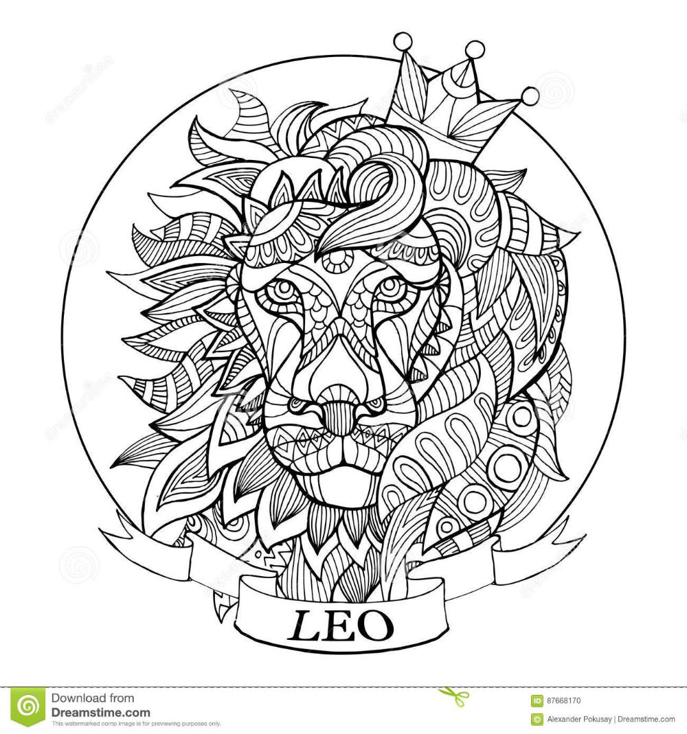 Lion Zodiac Sign Coloring Book Vector Stock Vector Illustration Of Vector Coloring 87668170 Lion Coloring Pages Coloring Books Zodiac Signs Colors