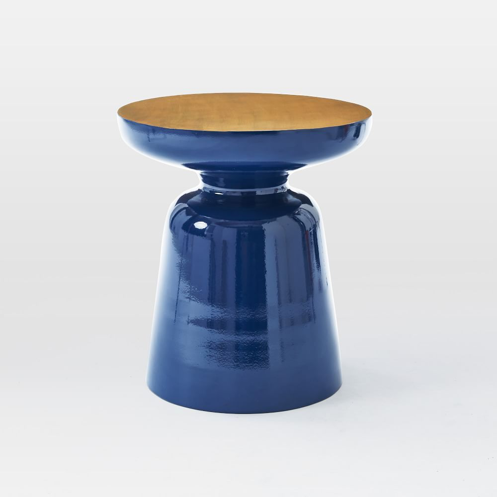 martini two tone side table in ink blue and antique brass from west elm this would go so well. Black Bedroom Furniture Sets. Home Design Ideas