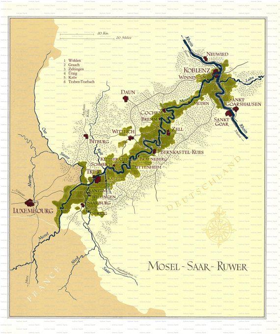 Map Of Wine Region Mosel Saar Ruwer Germany 1970 Wine Maps