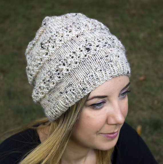 Cream Slouchy Knit Hat - Cream Vegan Hat - Boho Hat - Hipster Hat - Hippie  Hat - Womens Tam - Mens B c098d1d1e42