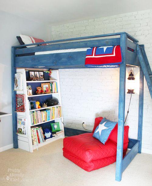 A Blue Loft Bed For My Son Diy Loft Bed Kids Loft Beds Loft Bed