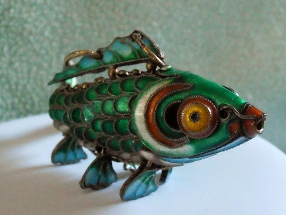 Large Wiggly Fish Pendant by MonkeyTreasures on Etsy, $249.95