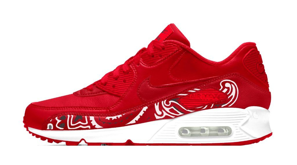 attractive price low price sale buying cheap Red Bandana Custom Nike Air Max 90 Shoes Red/White - Bandana Fever ...