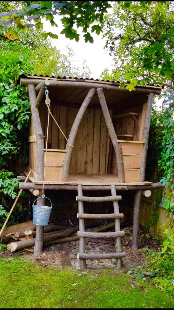 Photo of Tree house designs – Mr Treehouse Design    So much fun to be had here  We made and designed this rustic looking treehouse  It included a mud kitchen and a cool bucket winch