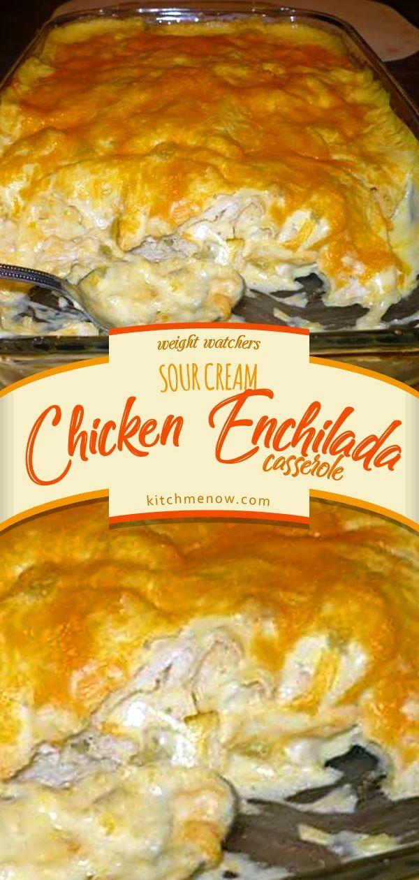 Sour Cream Chicken Enchilada Casserole Weightwatchers Sour Cream Enchilada Casse Sour Cream Chicken Sour Cream Recipes Sour Cream Chicken Enchilada Recipe