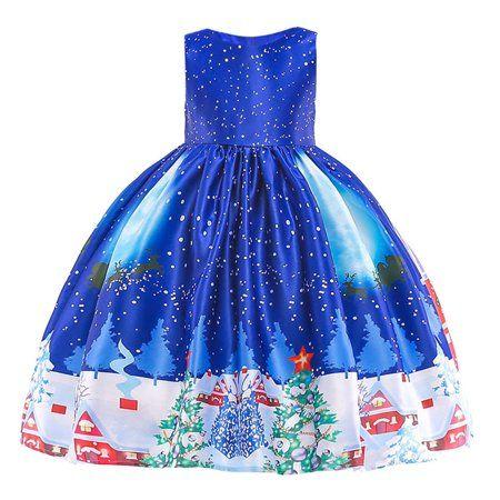 c4a828c4390f Iuhan Toddler Kids Baby Girls Santa Print Princess Dress Christmas Outfits  Clothes - Walmart.com