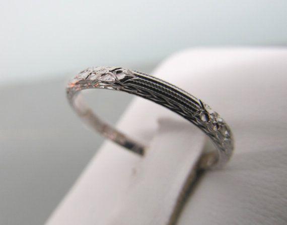 Art Deco Wedding Ring 18k White Gold Ring Antique Wedding Band Eternity Band Dainty 1920s Band Edwardian Wedding Ring Size 6 Art Deco Wedding Rings