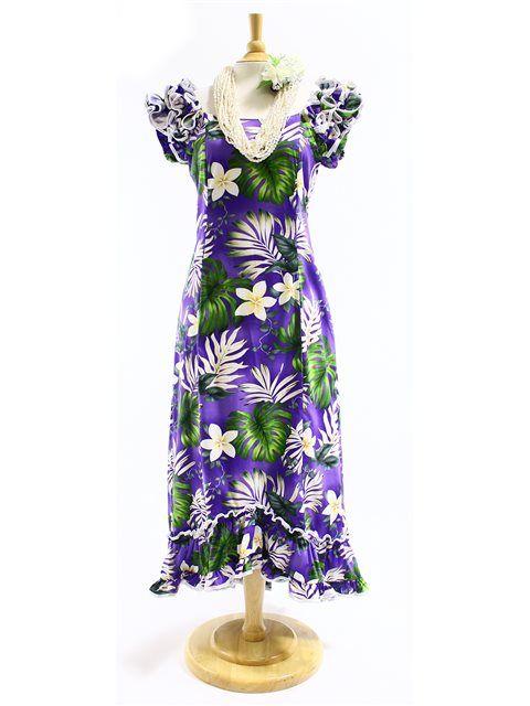 PL 334-3688 Ruffle Long Muumuu [Purple] - Long Dresses - Hawaiian ...