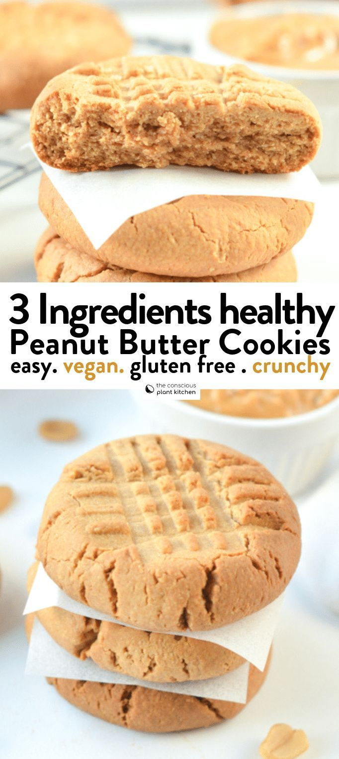 VEGAN 3 INGREDIENTS PEANUT BUTTER COOKIES healthy easy gluten free crunchy cookies with no egg