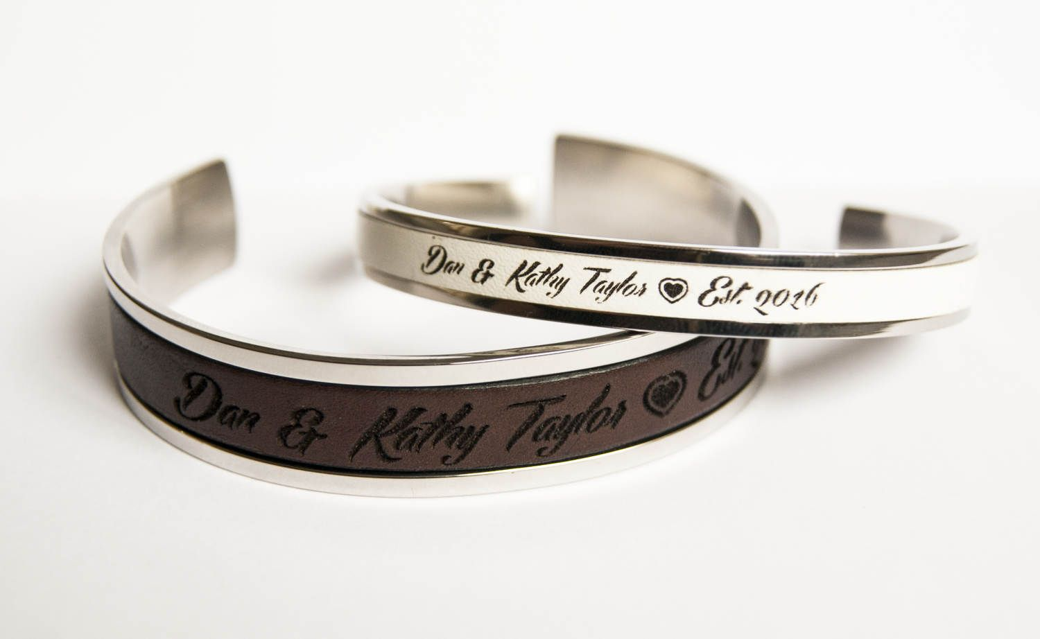 Couple Bracelets Anniversary Gift His and Her Personalized Wedding ...