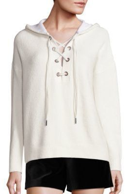 Alice and Olivia Louanne Long Sleeve Lace-Up Hoodie