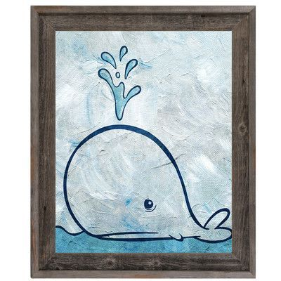 """Click Wall Art 'Thar She Blows' Framed Painting Print on Canvas Size: 33.5"""" H x 23.5"""" W x 1"""" D"""
