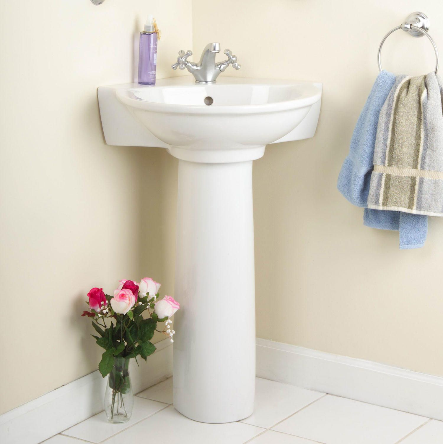 Gaston Corner Pedestal Sink   Corner Sinks   Bathroom Sinks   Bathroom