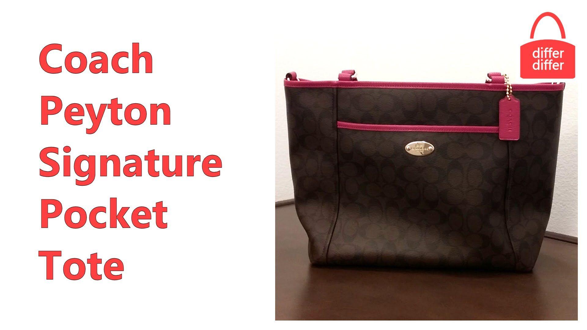 Coach Peyton Signature Pocket Tote handbag videos Pinterest