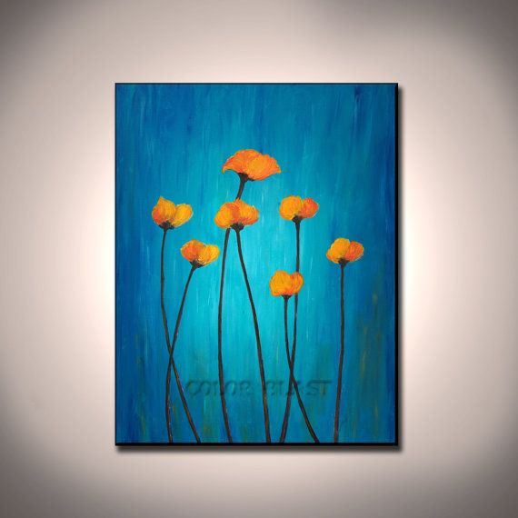 Poppies Mounted Art Blue And Orange Free Shipping Ready To Etsy Canvas Art Painting Blue Art Orange Art