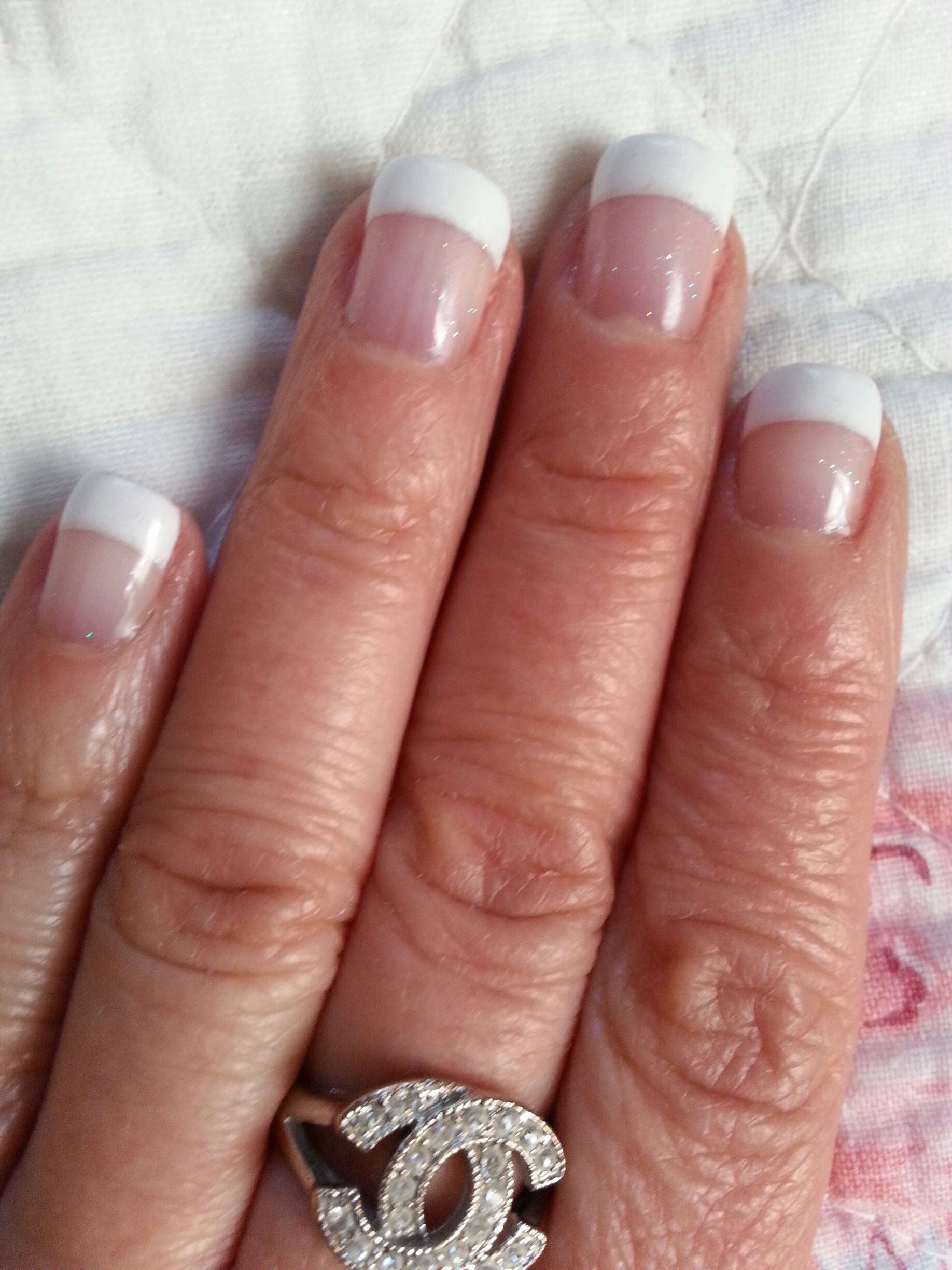 Nails - Short, gel french manicure.Clear with a bit of sparkle. A ...
