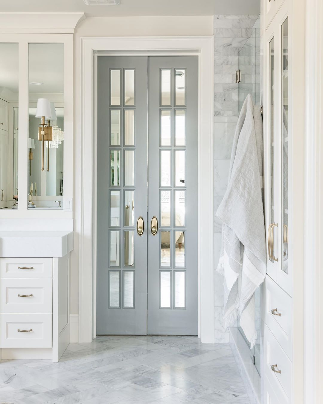 "Chelsea Kasch Interior Design on Instagram: ""Mirrored French doors leading to the closet in Manor House Gray by Farrow and Ball. #berkshireestateproject  Builder @shelbycustomhomes…"""