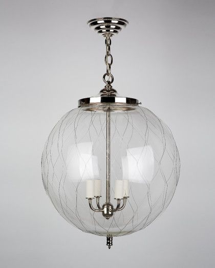 Sorenson Pendant . Hand Blown Globe With Wire Mesh. Shown