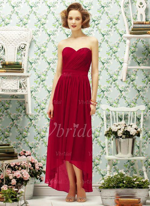 A-Line/Princess Strapless Sweetheart Asymmetrical Chiffon Bridesmaid Dress With Ruffle (0075057171) -