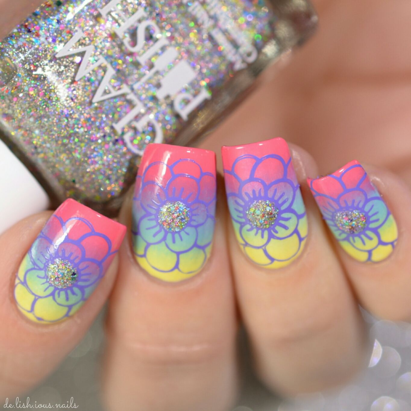 Rainbow Gradient with purple glitter flower nail art stamping design ...