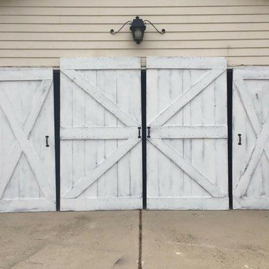 White Barn Doors But With Bold Black Hardware Paint Slightly Distressed For Garage Side Facing Street Front Barn Doors Sliding Barn Door Custom Barn Doors