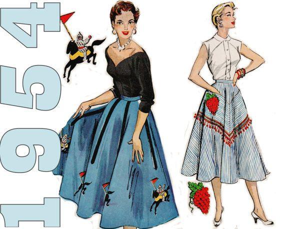 Vintage 1950s Skirt Pattern MCCALLS 1851 Waist 24 28 UNCUT Rockabilly Full Circle Swing Applique Retro