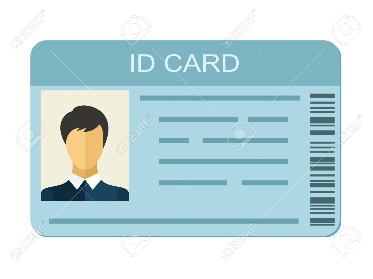 Id Card Isolated On White Background Identification Card Icon Inside Personal Identification Card Template Pro Cards Identification Card Place Card Template
