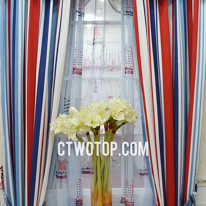 I Think These Blue Nautical Curtains Are Integrated With And Sheer For The Tow Panels Striped In Stylish Way