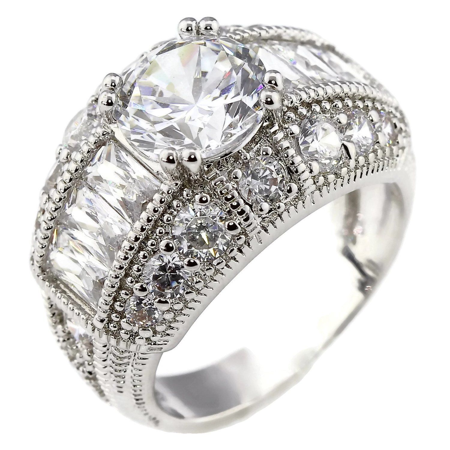 18K White Gold Plated 2CT Brilliant and