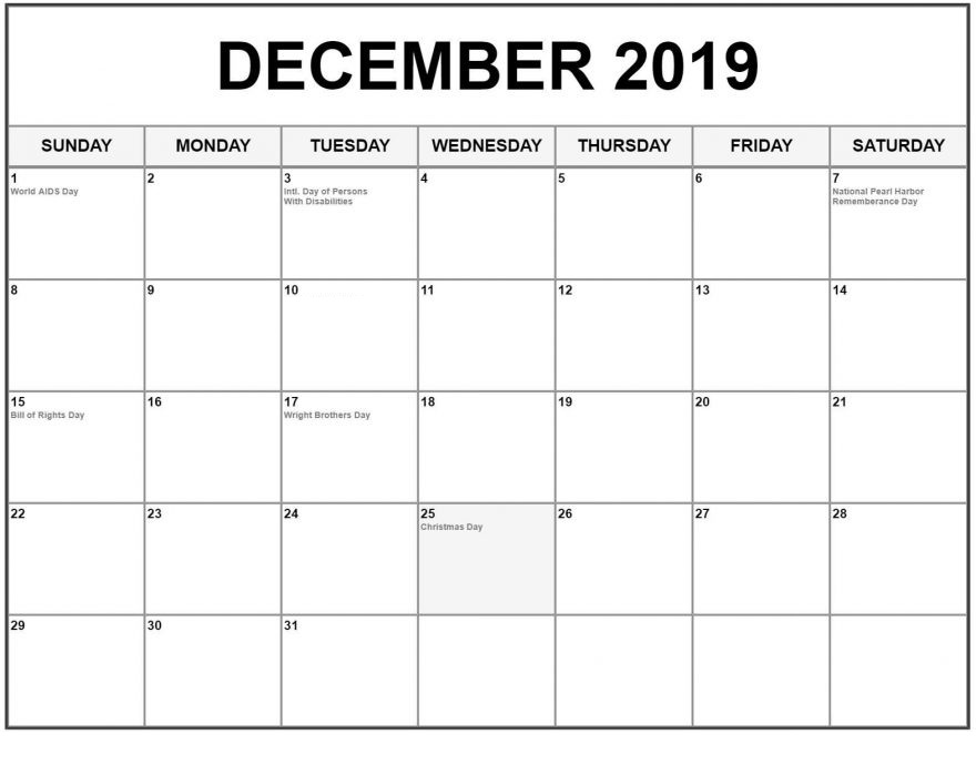 December 2019 Calendar With Holidays For Events