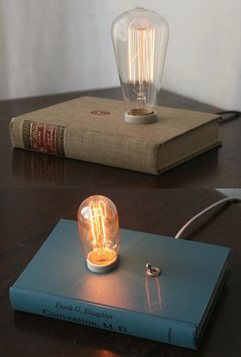 hardback book lamps by philip hansen zimmer nachttischlampe lampe selber bauen und lampen. Black Bedroom Furniture Sets. Home Design Ideas