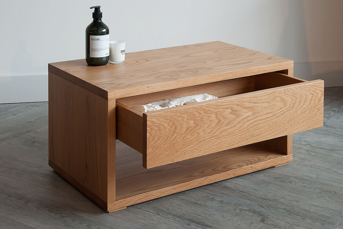 A Stylish Oak Low Bedside Drawer Unit Perfect As Table Or