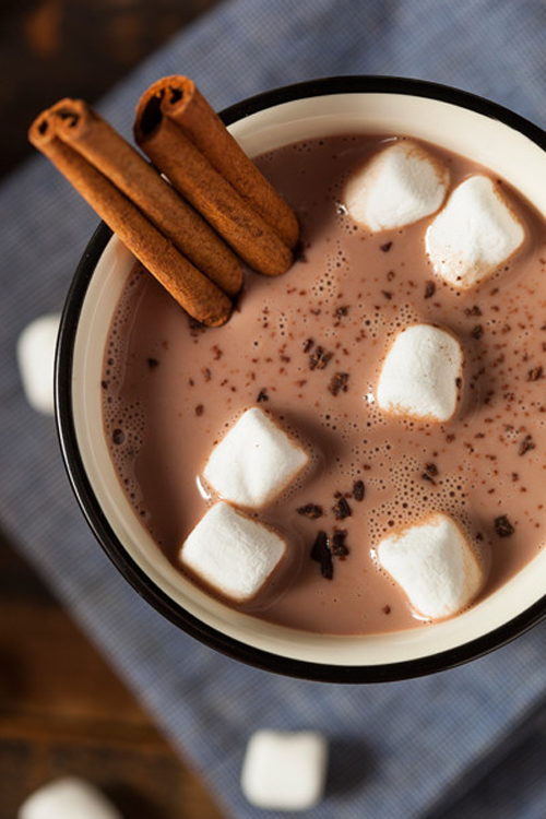 Winter Food ~ Cinnamon Hot Chocolate with Marshmallows