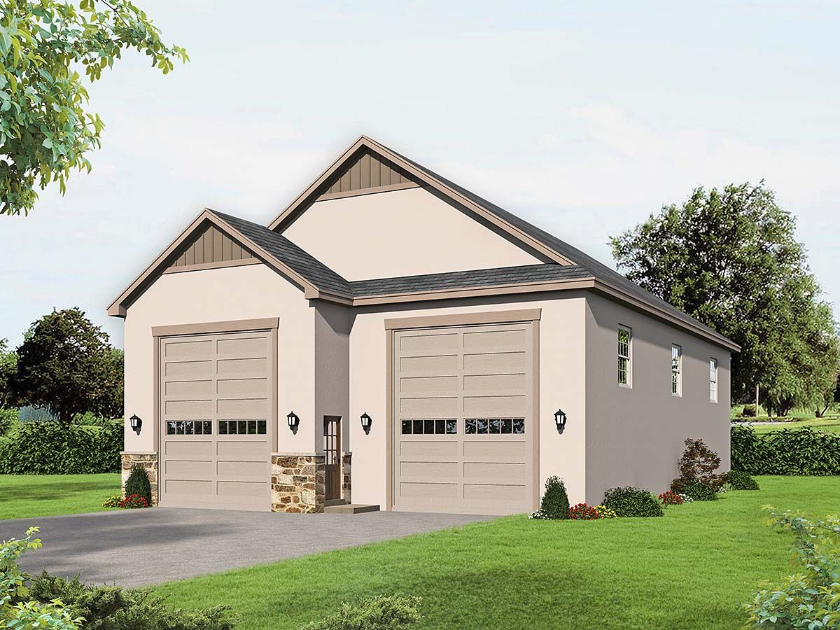 Traditional Style 2 Car Garage Plan Number 40834, RV