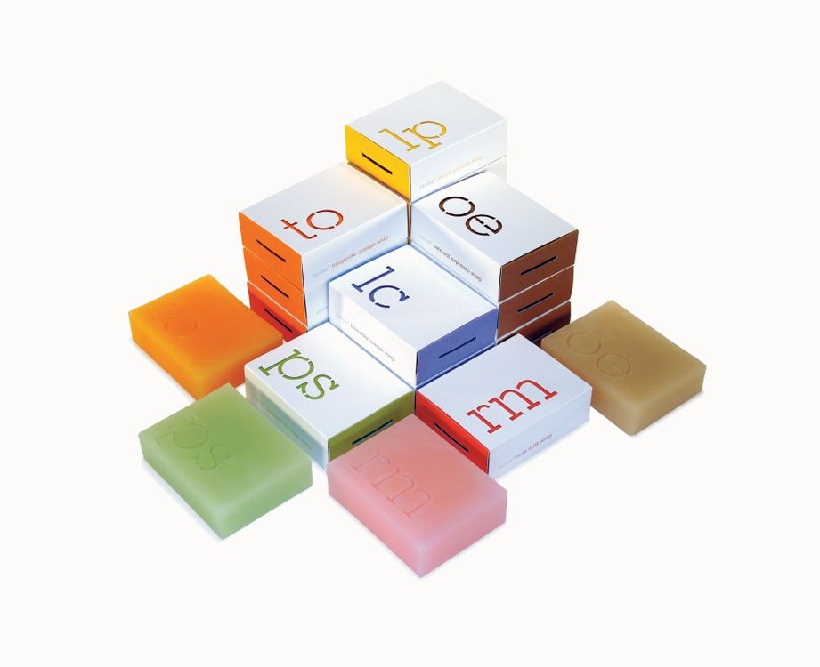 TAZAA    Packaging design for scented bar soaps. Reminiscent of a periodic table recessed into the surface of each bar and mirrored by a diecut on the outer sleeve. Defines the soap's scientific persona. #smart #packaging