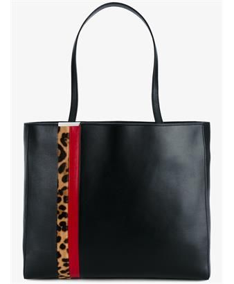 TOMASINI - Leather Shopper Tote with Leopard Print Stripe  d0482e5b4319a