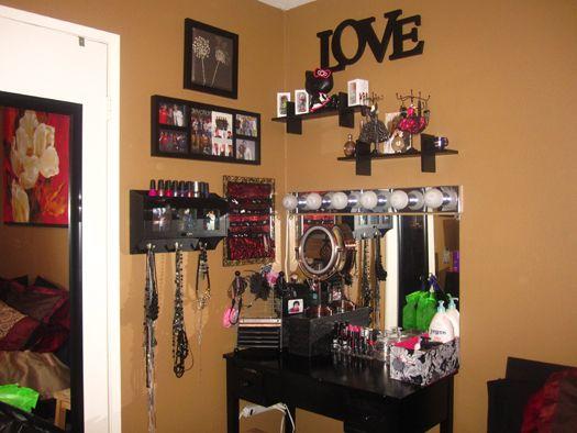 My Makeup Vanity Area. DIY vanity lights under $100! | Playing ...