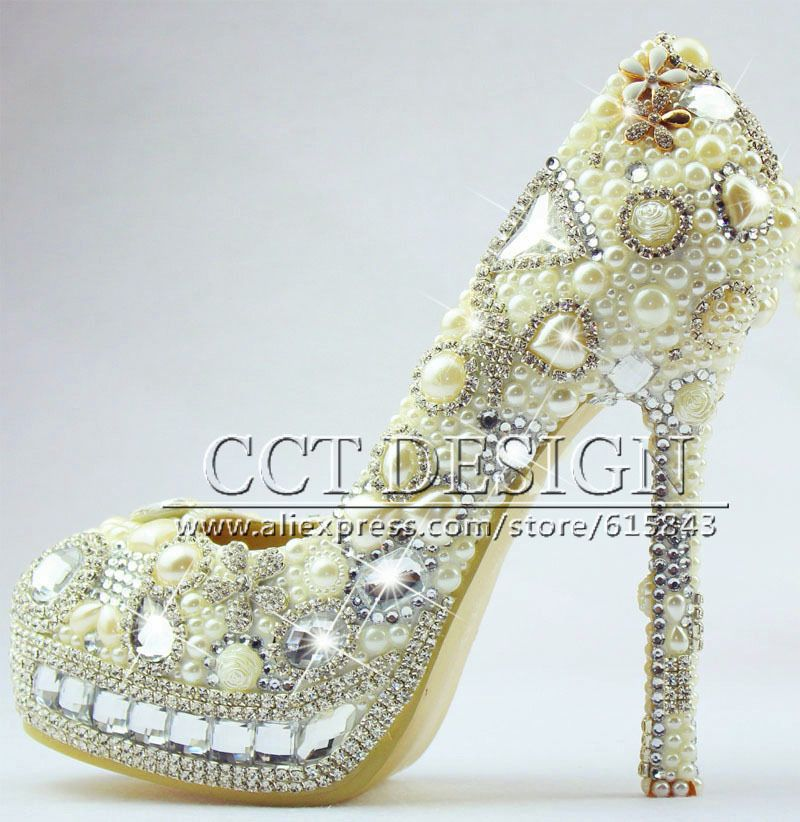 $199.00 (Buy here: http://appdeal.ru/d253 ) Free Shipping Handmade Gorgeous white Ivory Pearls wedding Bridal Shoes Rhinestone Lady High Heels Bridal Wedding Pumps for just $199.00