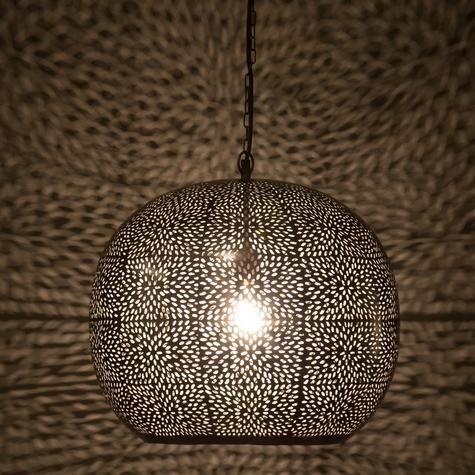 Pierced metal hanging lamp with floral design artemano