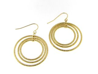 """Triple Layer Gold Hoops $10.95  Circular orbiting layers chandelier style gold frosted hoops. Creating movement and style with your look at the same time, such a conversation piece. 1 1/4"""" total drop length. #earrings #accessories #fashion #jewelry"""