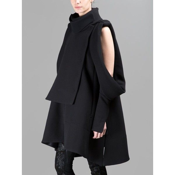 Di Liborio  Coats (43 375 ZAR) ❤ liked on Polyvore featuring outerwear, coats, black, wool coat, woolen coat, wrap coat, wool wrap coat e black coat