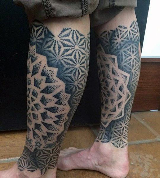 f002725b8 Man With Geometrical Designs In Sacred Geometry Triangle On Back Of Legs