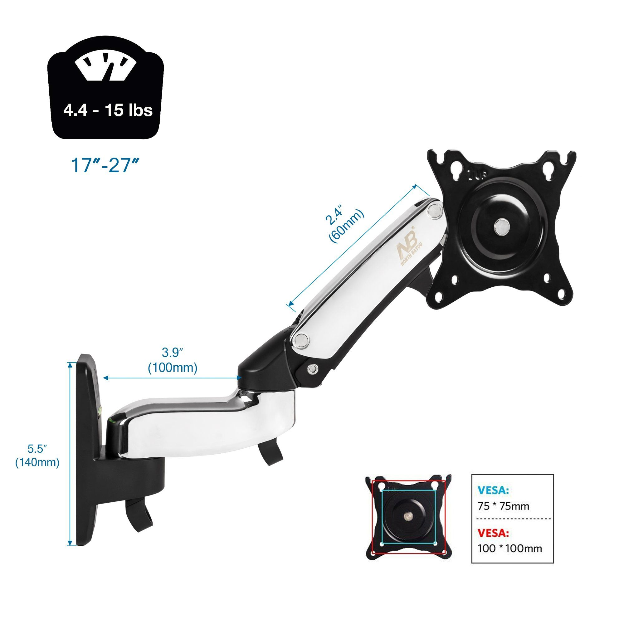 North Bayou Tv Monitor Wall Mount Bracket Full Motion Articulating Swivel For 17 27 Inch Display Monitor W Chrome Plating Wall Mount Bracket Kitchen Wall Decor