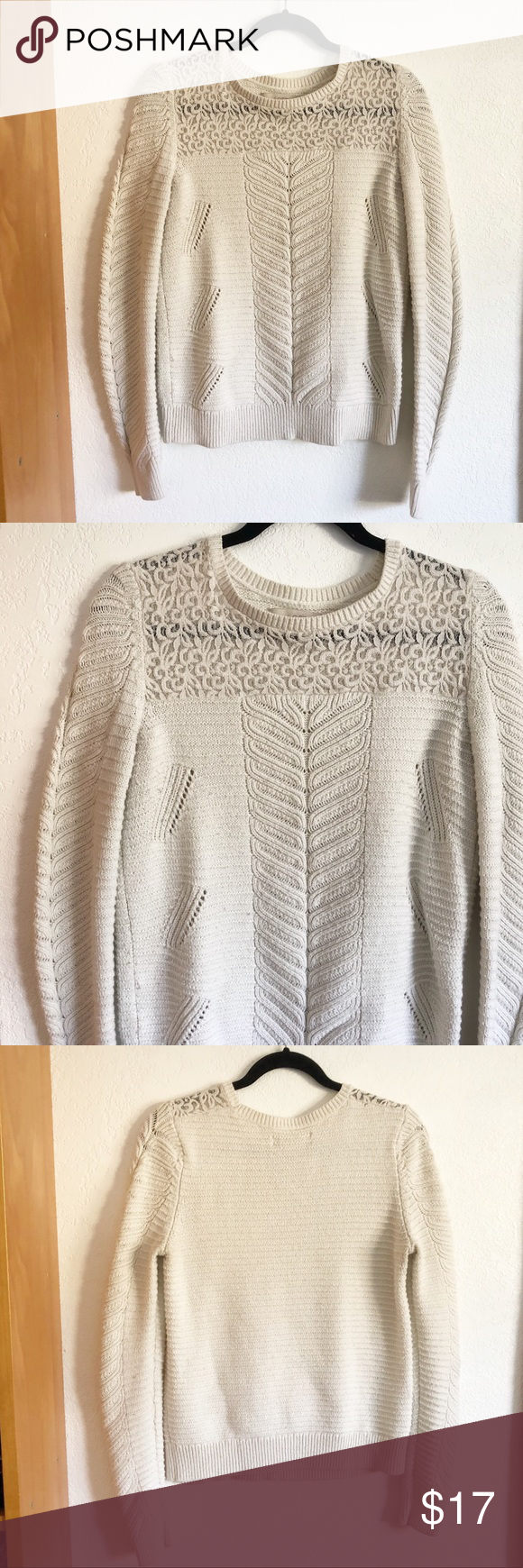 LOFT | Cream Textured Fall Sweater Beautiful piece from LOFT. Super comfortable and will keep you warm for fall/winter. Beautiful texture/pattern all over. Very unique style. Great condition Length: 24.5 inches Pit to pit: 16 inches LOFT Sweaters #loftclothes